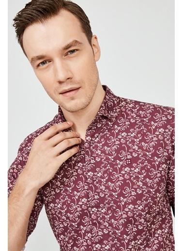 Avva Erkek  Baskılı Gömlek A02Y2051 Bordo